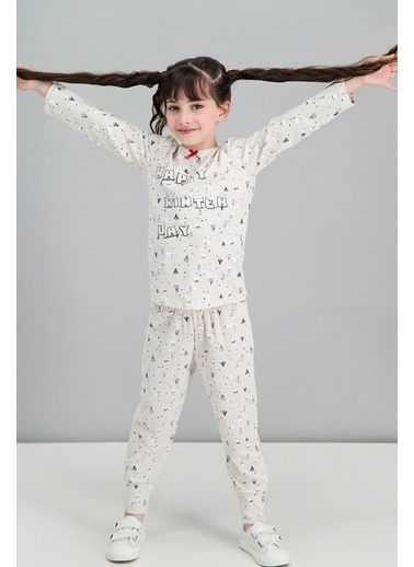 Roly Poly Rolypoly Happy Winter Mavimelanj Kız Çocuk Pijama Takımı Krem